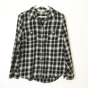 Old Navy Black And White Plaid Button Down Top